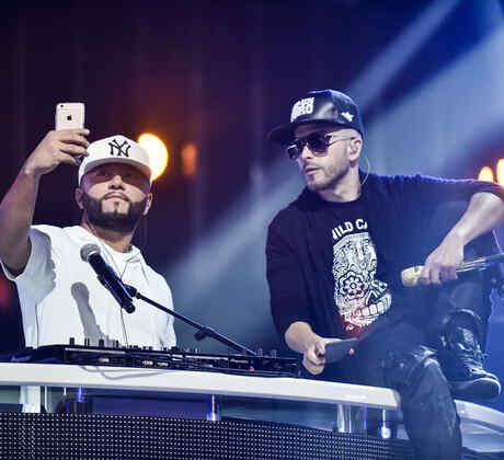 Alex Sensation, Shaggy and Yandel at the Latin American Music Awards 2015 rehearsals