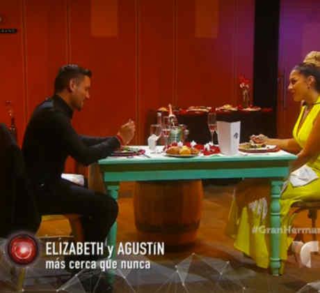 Los habitantes Agustín y Elizabeth en la cena romántica de Gran Hermano