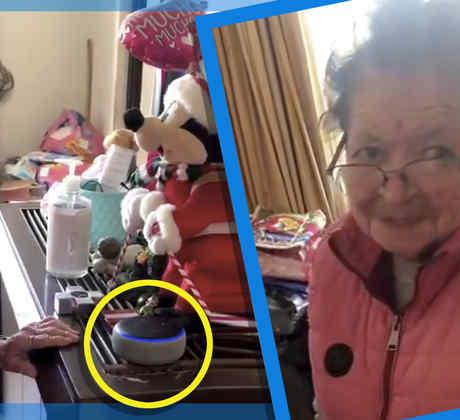 Abuelita regalo navideño bocina Alexa