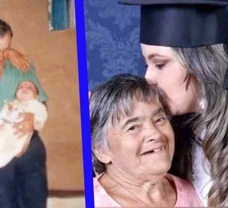 Madre síndrome de Down hija graduación