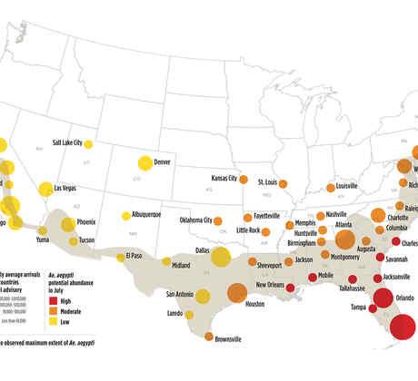 Mapa EEUU riesgos zika