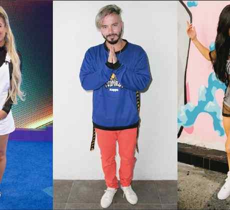 Karol G, J Balvin, Becky G in sneakers