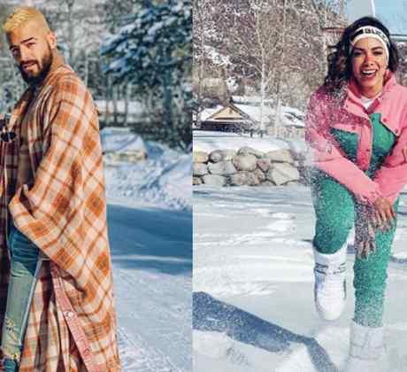 Latin artists having fun in the snow