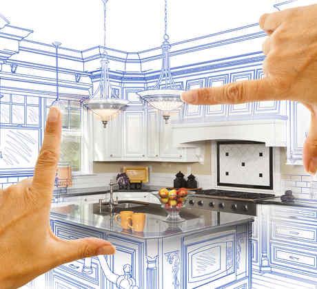 Dibujo de la remodelación de una cocina