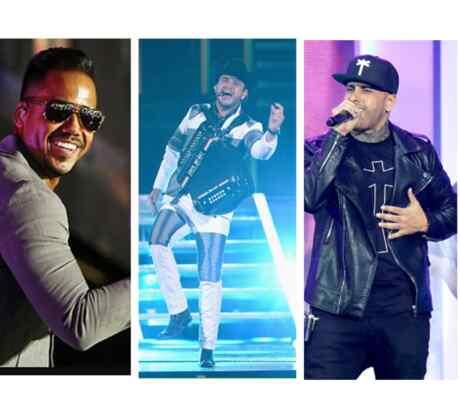 Romeo Santos, Calibre 50, y Nicky Jam cantando y bailando