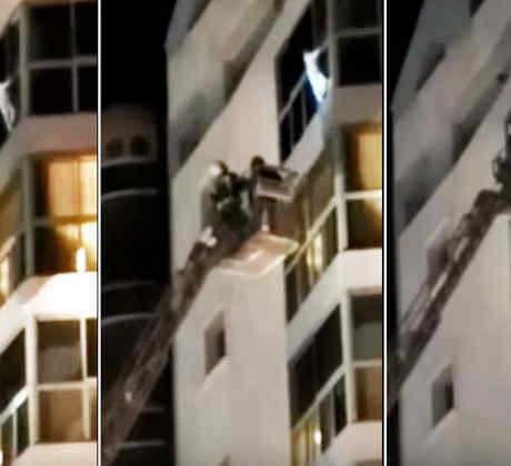 Rescatan a una niña de cinco años que colgaba de un séptimo piso (VIDEO)