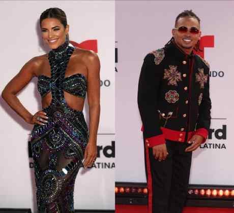 Gaby Espino, Ozuna y Sofia Castra en la alfombra roja en Premios Billboard de la Música Latina 2020