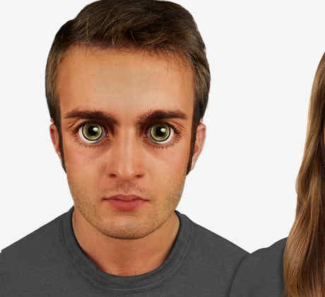 Personas del futuro con ojos grandes, mente ancha