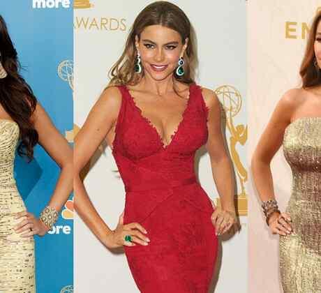Sofía Vergara en la alfombra de los premios Emmy en 2010, 2013 y 2015