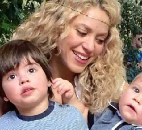 Shakira with both her kids