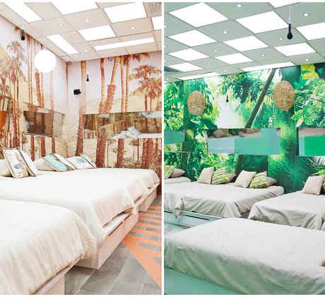 Collage de los cuartos La Selva y La Playa de Gran Hermano