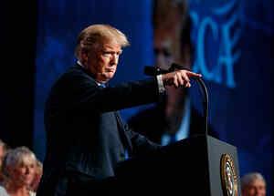 El presidente de EEUU, Donald Trump, habla hoy en la Convención de la Asociación Nacional de Electricistas Contratistas