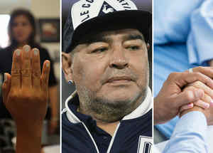 Examen de ciudadanía, Diego Maradona y doctor sosteniendo la mano de su paciente