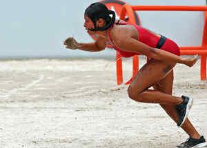 Shaila corre en el circuito naranja